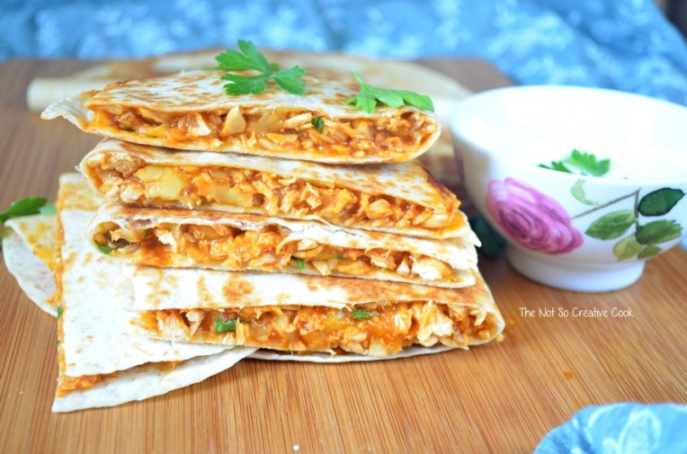 Cheesy Sriracha Chicken Quesadillas - TNSCC 3