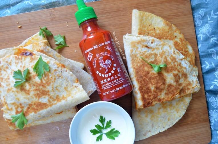 Cheesy Sriracha Chicken Quesadillas - TNSCC 4