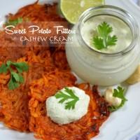 {Whole30} Smoky Sweet Potato Fritters with Cashew Cream